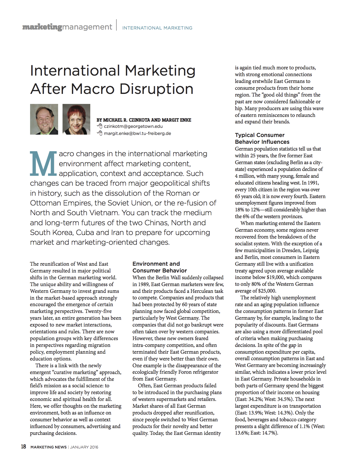 International Marketing After Macro Disruption